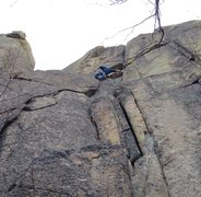 Rock Climbing Photo: Psyching up for the first crux!
