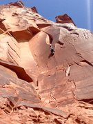 Rock Climbing Photo: Mary H. onsighting Skinwalker. Even for small hand...