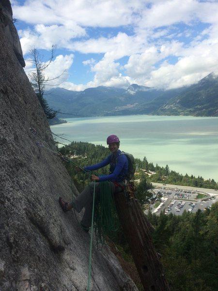 Awesome belay on Wiretap, Squamish