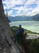Rock Climbing Photo: Awesome belay on Wiretap, Squamish