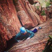 Rock Climbing Photo: Helen Sinclair following pitch 4