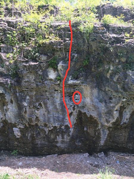 Rock Climbing Photo: Start circled.