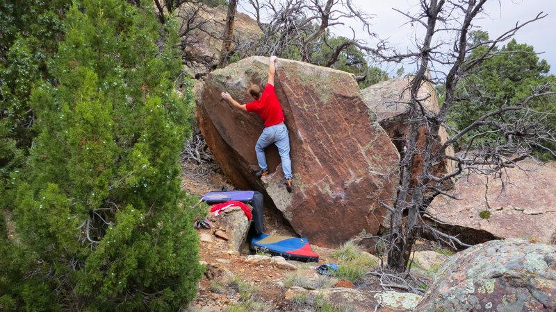 Rock Climbing Photo: Snagging the lip on Petrichor.
