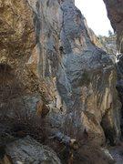 Rock Climbing Photo: Cruxing.  A fall here wouldn't be good.  A fall an...