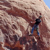 Contemplating the sandy, slopey crimps (I aided after this point).<br> <br> Photo by Dan Mayberry - http://crlyhds.zenfolio.com