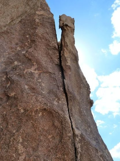 The detached flake on Controversial (5.9 R), Joshua Tree NP