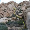 Mary Worth Buttress with approach shown, Joshua Tree NP