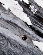 Rock Climbing Photo: Westward Ho - pitch 2 - after an unusually snowy s...