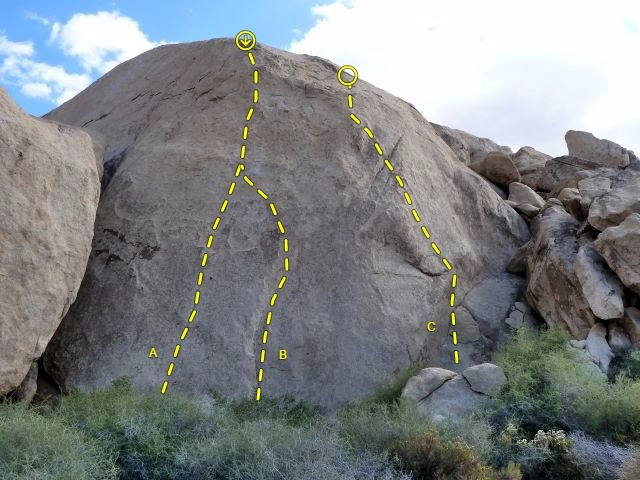 Watergate Rock detail, Joshua Tree NP<br> <br> A. Dirty Tricks (5.11d)<br> B. Malicious Deception (5.11b)<br> C. T. Gordon Liddy (5.11a)