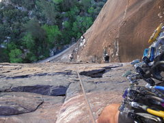 Rock Climbing Photo: Rappelling Dark Shadows (5.8), Red Rocks, NV