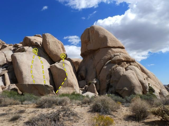 Rock Climbing Photo: Mystery routes left of Cleopatra Dome, Joshua Tree...