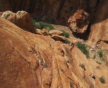 Rock Climbing Photo: Paul following P1 just below the overhang