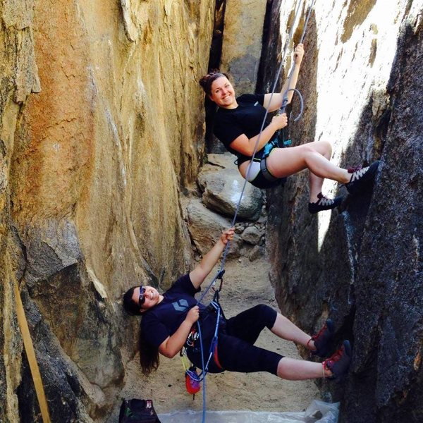 Pearl Heft on belay & Heather Bowers(on TR) posing for a picture.  One of the most fun & easiest routes in the Corridor.