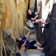 Rock Climbing Photo: Pearl Heft on belay & Heather Bowers(on TR) posing...