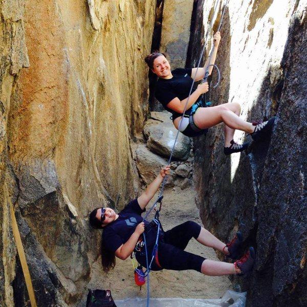 Rock Climbing Photo: My friend, Heather, & I playing around on TR.
