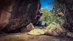 Rock Climbing Photo: Working the crimp seam on Chigger Big.