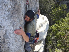 Rock Climbing Photo: Matt Geyer at the 4th bolt of Owl's Staircase.