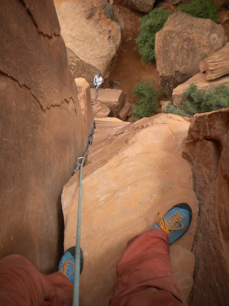 Self-portrait at the top of the ole Texas Two Step! (Peter Metcalf on Belay)