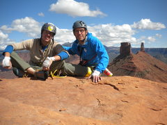 Rock Climbing Photo: Peter Metcalf and I on the jaw-dropping top!