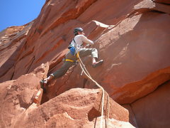 Rock Climbing Photo: Peter Metcalf starting into the goods right off th...