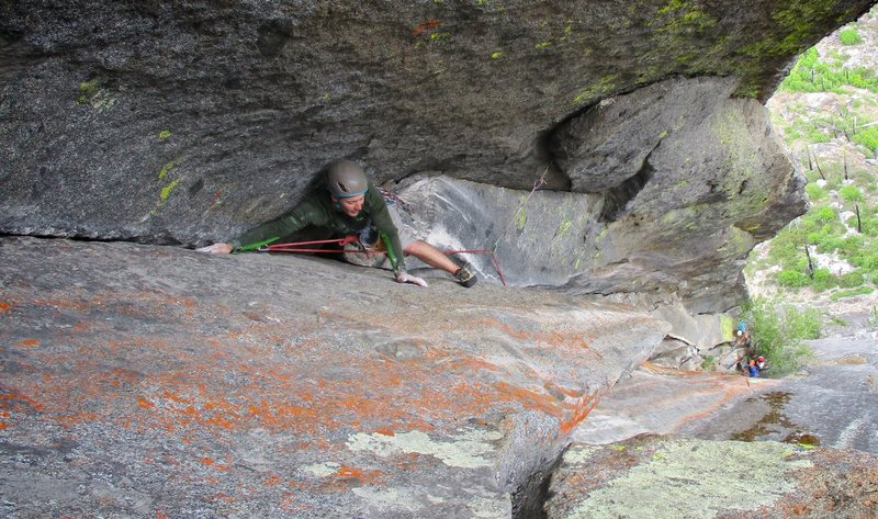 Jon Pobst in the corner just above the Pressure Chamber section of Hyperspace, Snow Creek Wall, WA.
