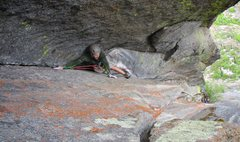 Rock Climbing Photo: Jon Pobst in the corner just above the Pressure Ch...