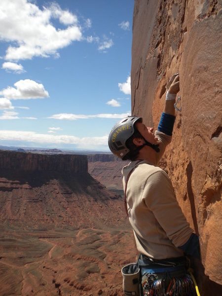 Rock Climbing Photo: Starting the third pitch-- tight hands- the bane o...