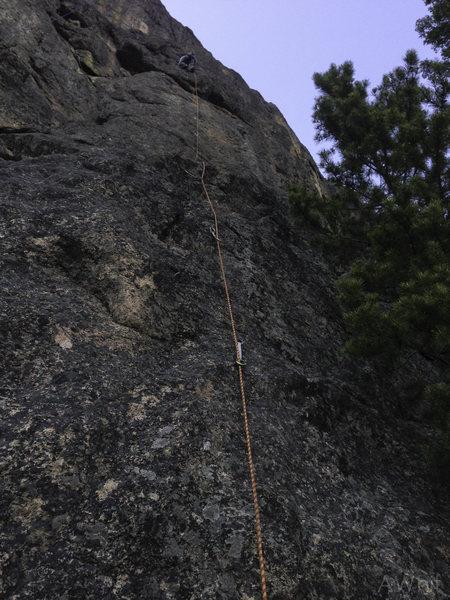 Rock Climbing Photo: Drobnik after the crux.
