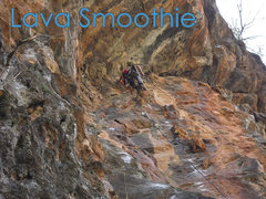 Rock Climbing Photo: Tyler at the top of his route (Lava Smoothie). Ret...