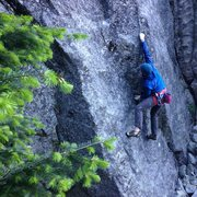 Rock Climbing Photo: Tommy moves into the low crux on Fine Line.  Photo...