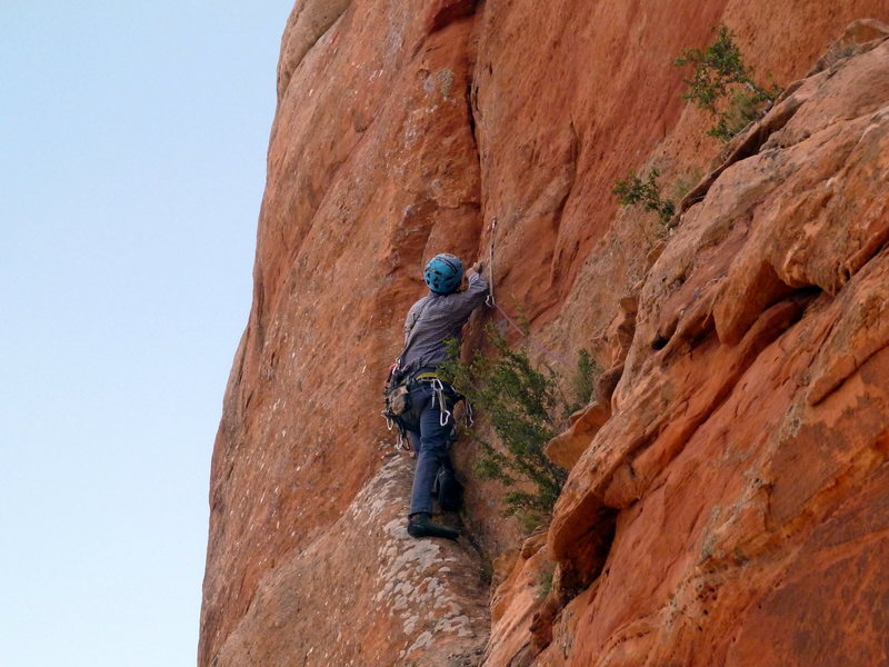 The first bolt on Zach Harrison's line on the north face. The only gear I needed was just above me in the thin crack; a .4 C4