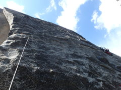 Rock Climbing Photo: Ibby past the crux of the first pitch traverse.