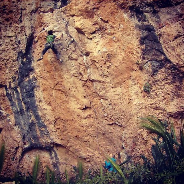Rock Climbing Photo: The 11D on the far right side of Cova Gran
