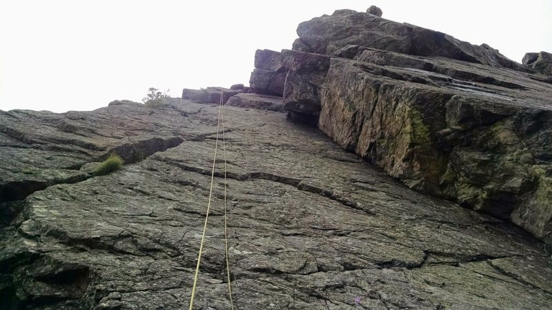 Rope on 5.7 Face, 5.7 Dihedral on right.