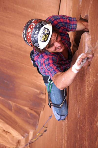 Me negotiating the pod crux at the top of Willy's.<br> <br> Photo by Shawn Wright.