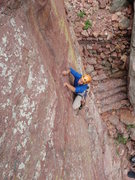 Rock Climbing Photo: Unknown climber on the West Face of the Bastille.