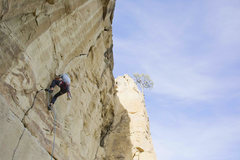 Rock Climbing Photo: First lead attempt on this amazing line.