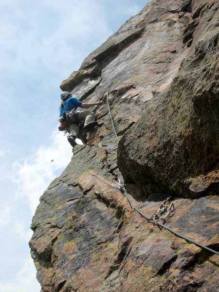 One of the sickest aretes in Eldo.  Dave cruising as he approaches the bizarre crux.