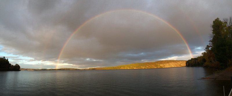 double rainbow above Mazinaw from the dock