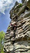 Rock Climbing Photo: Laying Back on Black Crack