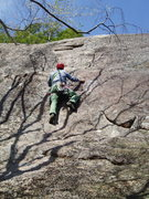 """Rock Climbing Photo: RW studies the move on """"Road Between Worlds&q..."""