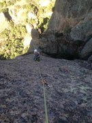 "Rock Climbing Photo: The hanging belay atop P2 and a view of the ""..."