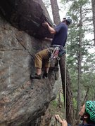 Rock Climbing Photo: Pulling the hard move by the 2nd bolt.