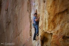 Rock Climbing Photo: Finding a good stance to clip the 3rd bolt can be ...