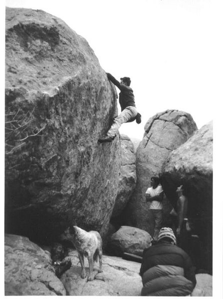 Mike Gasch on the stone, JJ Schlick, Josh Zimmerman , and Seth Dyer hanging at The Dougherty St. boulders, 1999.