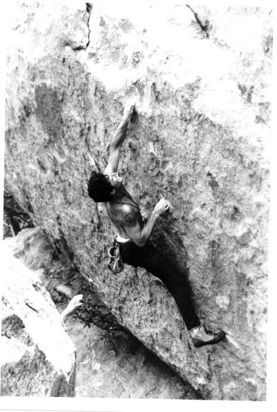 Josh Zimmerman cranking off a rad Matty Pearlman problem at The Dougherty St. boulders, 1999.