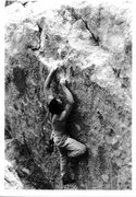 Rock Climbing Photo: Mike Gasch moving up on The Pearlman Problem, Doug...