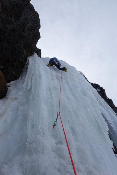 Rock Climbing Photo: Leading crux Cosley-Houston