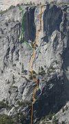 Rock Climbing Photo: Thugz Mansion in orange. Voodoo Child in green
