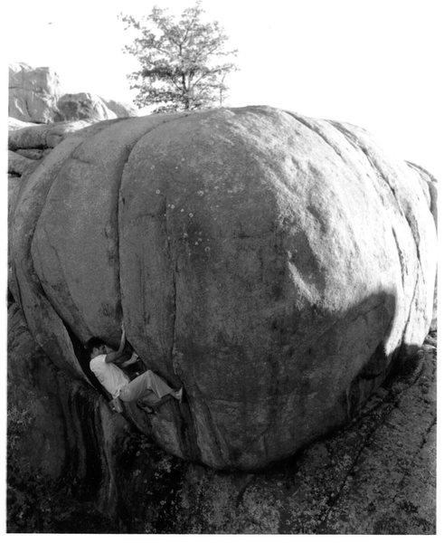 Rock Climbing Photo: JJ Schlick out smarting The Cranium Crack V4, 1999...